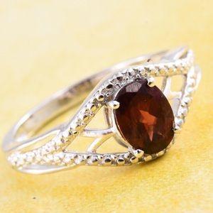 Mozambique Garnet Platinum Bond Brass Ring
